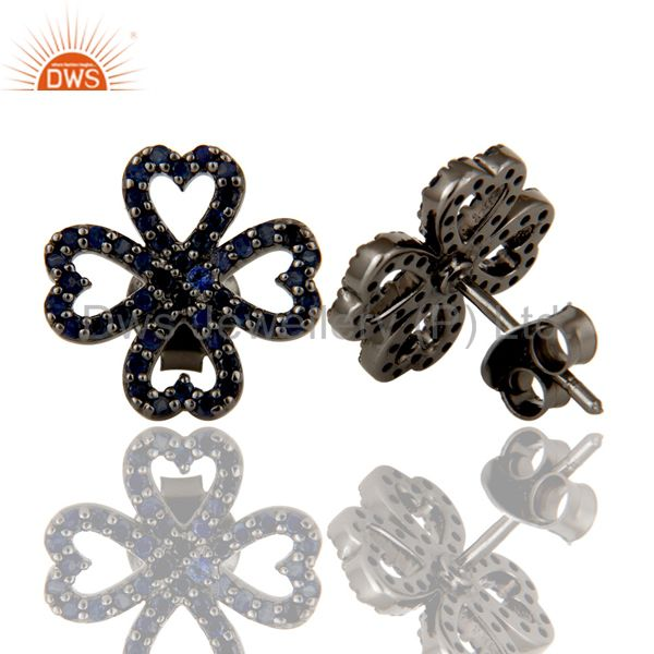 Exporter Blue Sapphire and Oxidized Sterling Silver Heart Flower Design Stud Earring