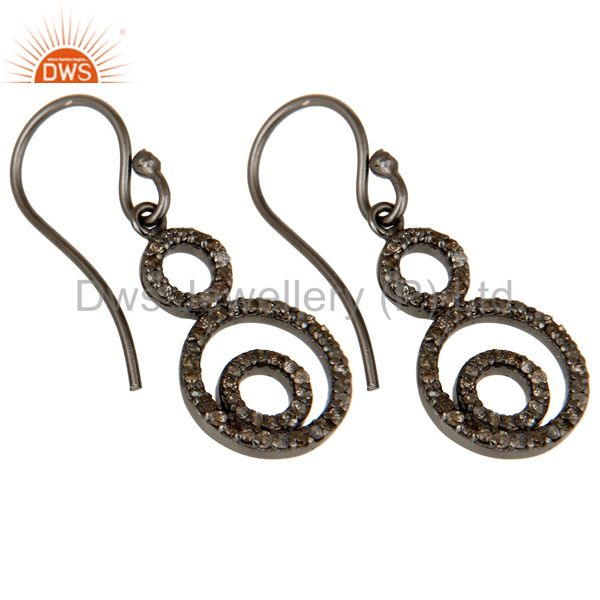 Exporter Handmade Black Oxidized Sterling Silver Dangle Design Earrings with Diamond Cut