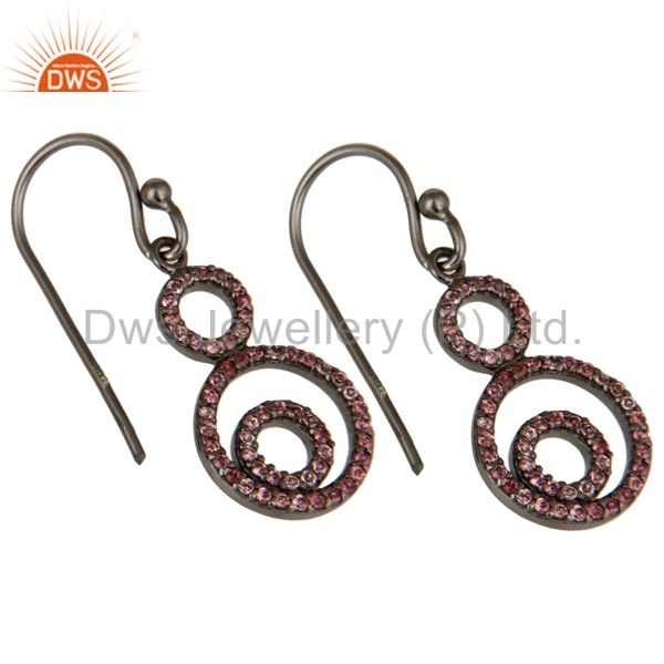 Exporter Handmade Black Oxidized Sterling Silver Dangle Design Earrings with Tourmaline