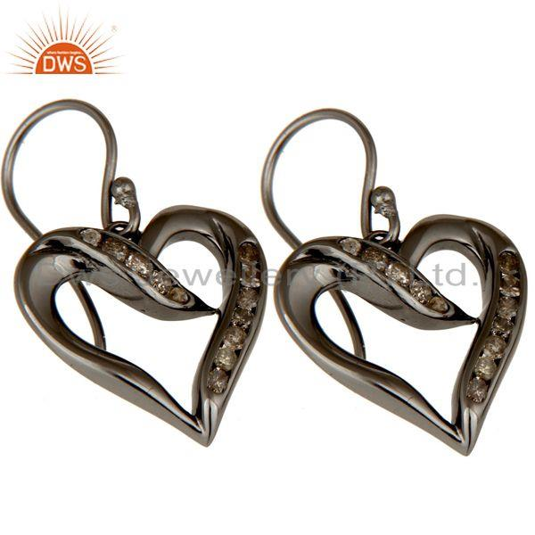 Exporter Heart Shape Earring Diamond and Oxidized Sterling Silver Designer Earring