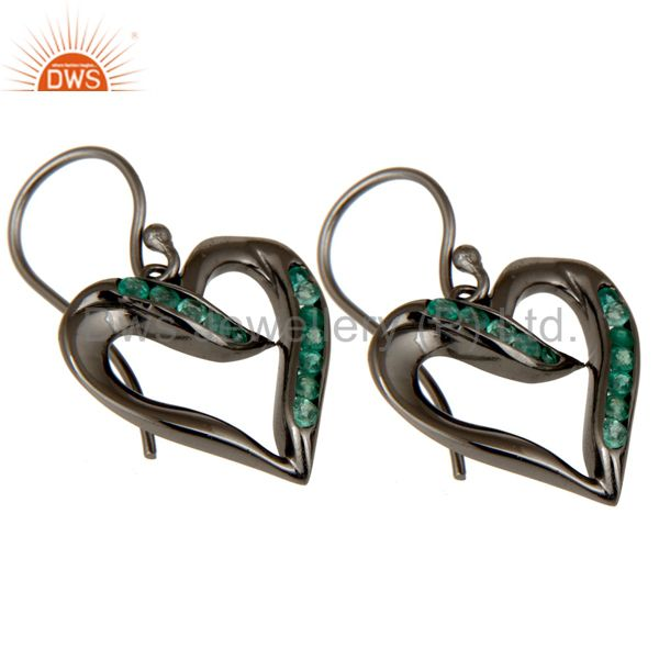 Exporter Heart Shape Earring Emerald and Oxidized Sterling Silver Designer Earring