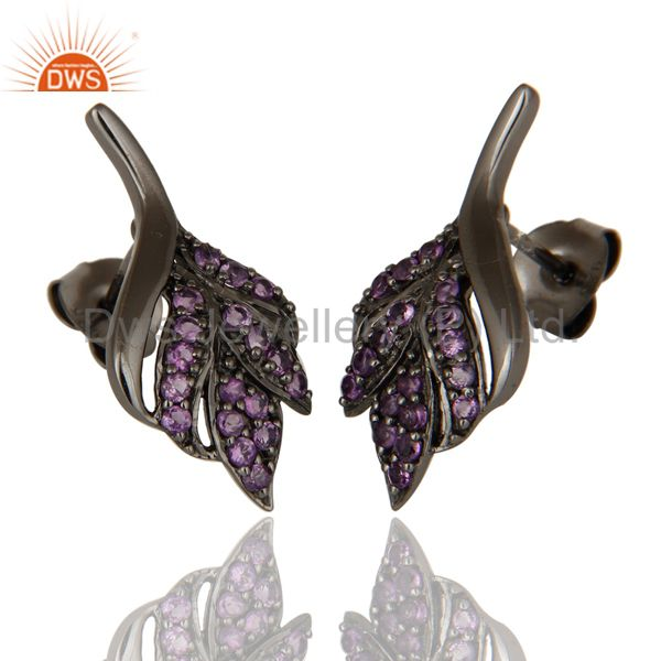 Exporter Leaf Rame Design Amethyst and Oxidized Sterling Silver Stud Earring