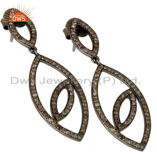 Exporter Handmade Eyes Design Dangle Diamond Oxidized Sterling Silver Earrings