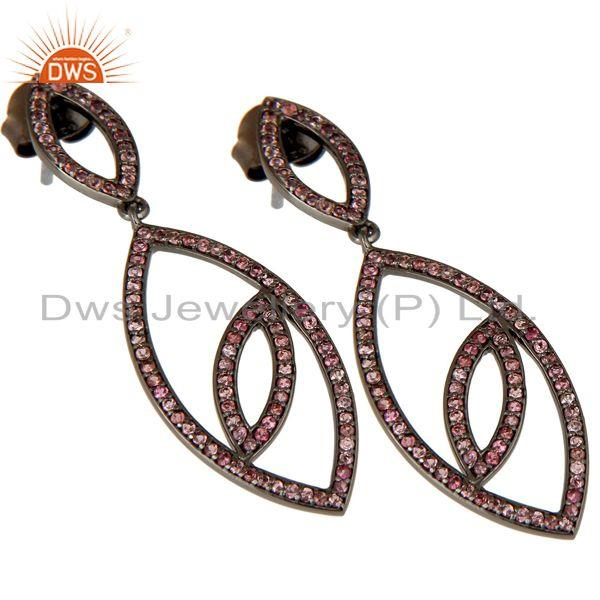 Exporter Handmade Eyes Design Dangle Tourmaline with Oxidized Sterling Silver Earrings