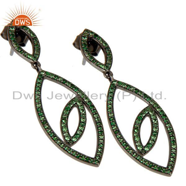 Exporter Handmade Eyes Design Dangle Tsavorite with Oxidized Sterling Silver Earrings