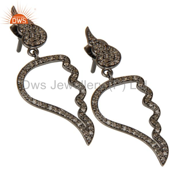 Exporter Leaf Rame Design Diamond and Oxidized Sterling Silver Drop Earring