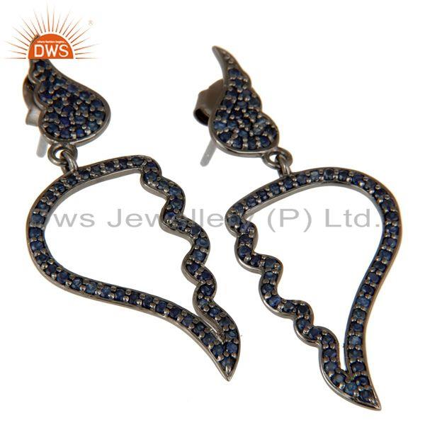 Exporter Leaf Rame Design Blue Sapphire & Oxidized Sterling Silver Drop Earring