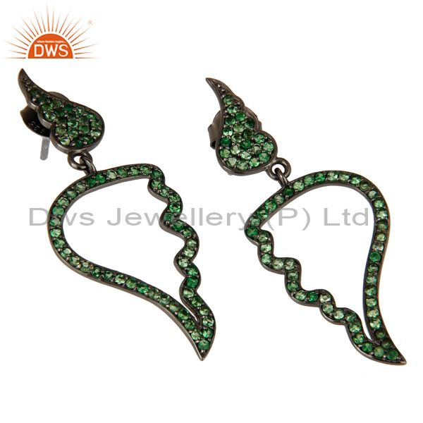 Exporter Leaf Rame Design Tsavourite and Oxidized Sterling Silver Drop Earring