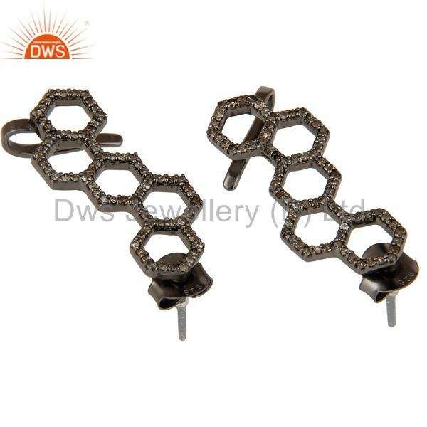 Exporter Black Oxidized Pave Diamond 925 Sterling Silver Exclusive Earrings Jewelry