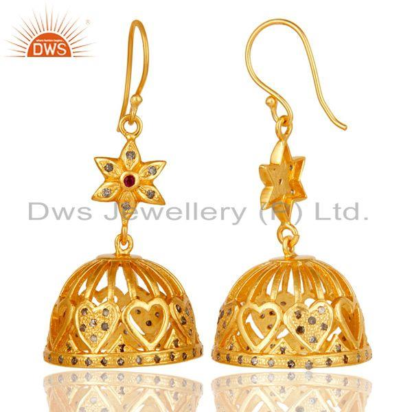 Exporter 18k Yellow Gold Plated 925 Sterling Silver Diamond & Ruby Cut Jhumka Earrings