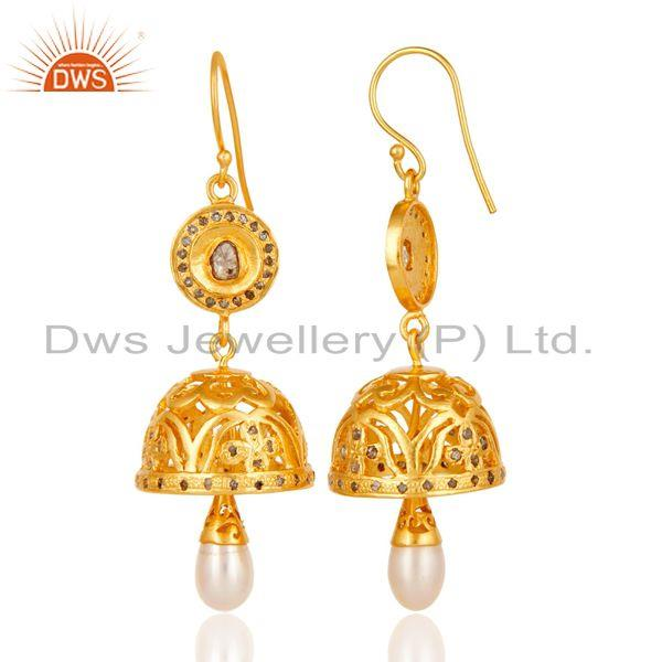 Exporter Diamond & Pearl Handmade Jhumka Earrings with 18k Gold Plated Sterling Silver