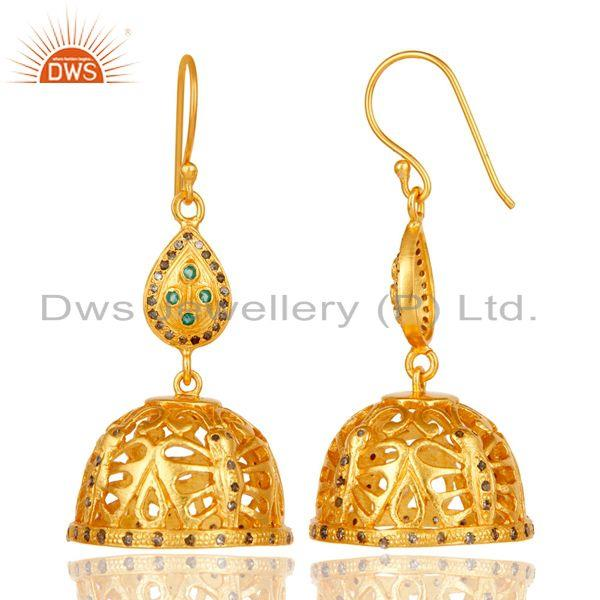 Exporter 18k Gold Plated 925 Sterling Silver Diamond Cut Fancy Jhumka Emerald Earrings