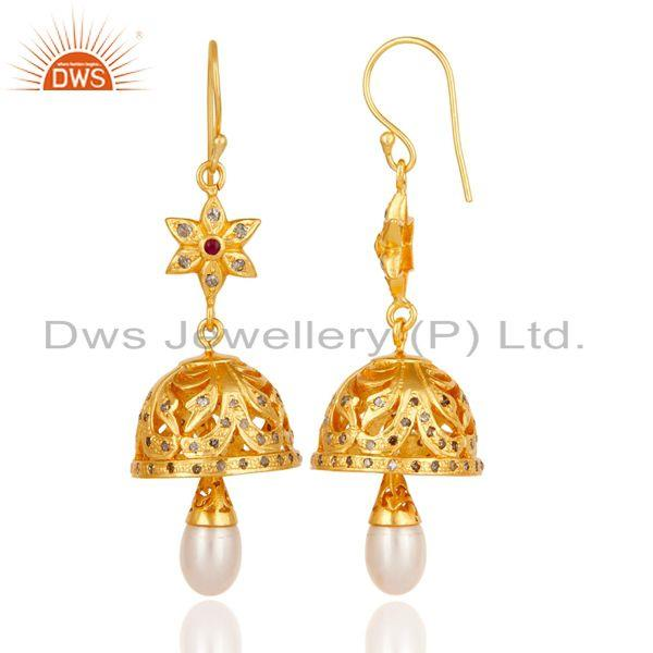 Exporter Diamond, Pearl & Ruby Jhumka Earrings with 18k Gold Plated Sterling Silver