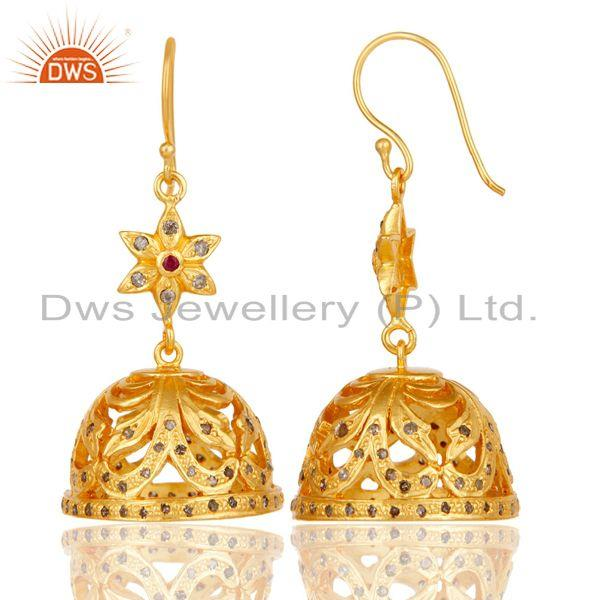 Exporter Handmade 18k Gold Plated Sterling Silver Jhumka Earrings with Diamond & Ruby
