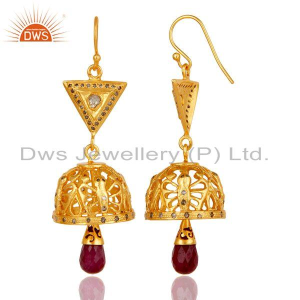 Exporter 18k Gold Plated Sterling Silver Diamond & Ruby Fancy Cut Jhumka Earrings