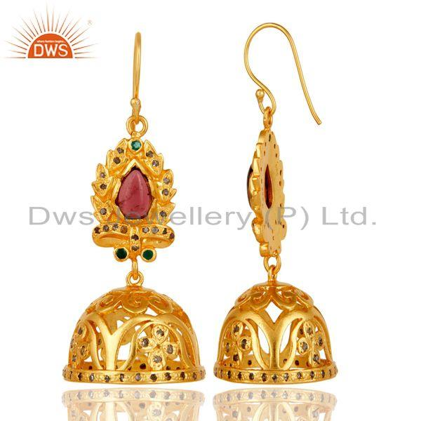 Exporter 18k Gold Plated Sterling Silver Diamond & Multi Color Stone Cut Jhumka Earrigs