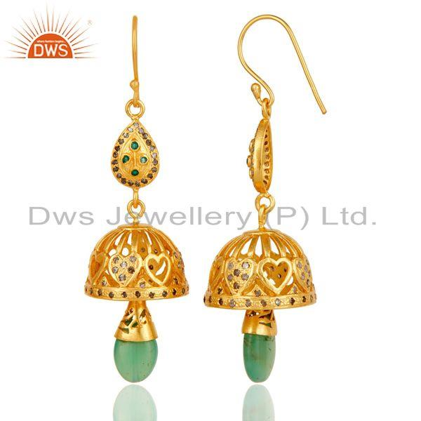 Exporter 18k Gold Plated Sterling Silver Diamond Cut & Multi Color Stone Jhumka Earrings