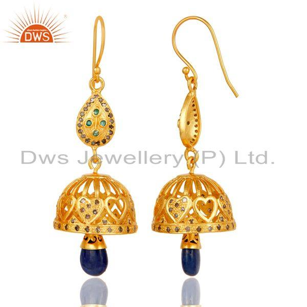 Exporter 18k Gold Plated Sterling Silver Sapphire, Emerald & Diamon Cut Jhumka Earrings