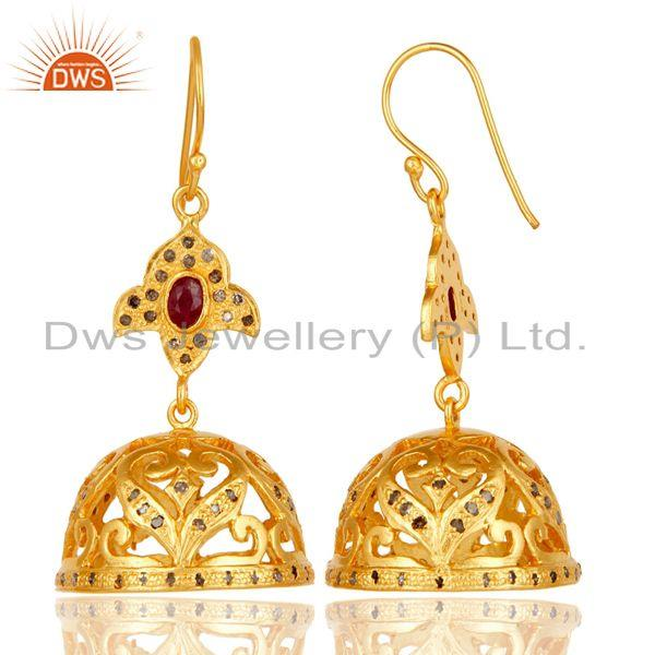 Exporter 18k Gold Plated Sterling Silver Handmade Diamond Cut Ruby Jhumka Earrings