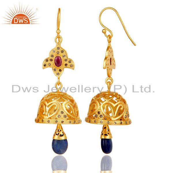Exporter 18k Gold Plated Sterling Silver Sapphire, Ruby & Diamond Cut Jhumka Earrings