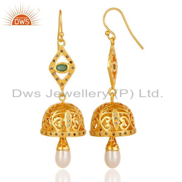 Exporter Diamond, Pearl & Emerald 18k Yellow Gold Plated Sterling Silver Jhumka Earrings