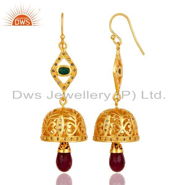 Exporter 18k Gold Plated 925 Sterling Silver Diamond Cut Emerald & Ruby Jhumka Earrings