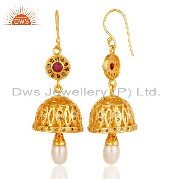 Exporter Diamond, Ruby & Pearl 18k Gold Plated 925 Sterling Silver Jhumka Earrings