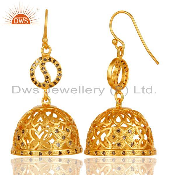 Exporter 18k Yellow Gold Plated 925 Sterling Silver Diamond Cut Jhumka Earrings