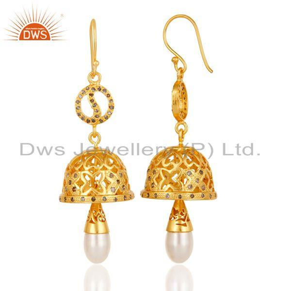 Exporter 18k Yellow Gold Plated 925 Sterling Silver Diamond Cut Pearl Jhumka Earrings