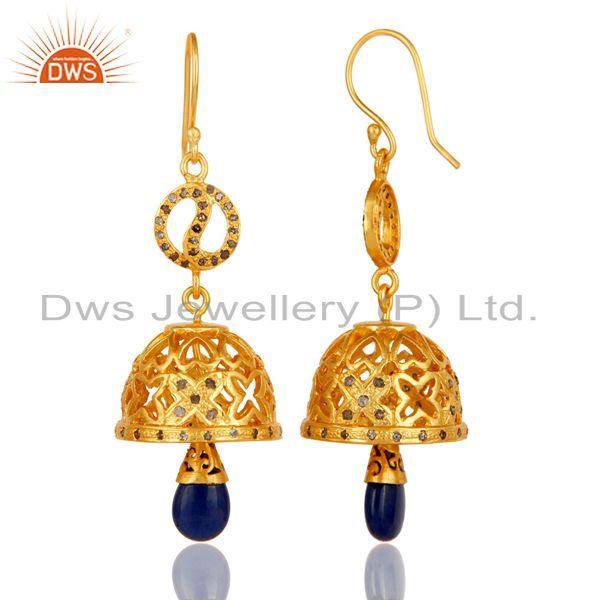 Exporter 18k Gold Plated 925 Sterling Silver Diamond & Blue Sapphire Jhumka Earrings