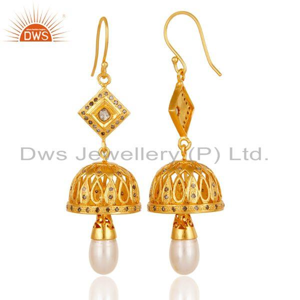 Exporter Diamond & Pearl Jhumka Earrings with 18k Gold Plated 925 Sterling Silver