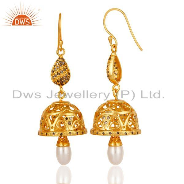 Exporter Diamond & Pearl Handmade Jhumka Earring with 18k Gold Plated 925 Sterling Silver
