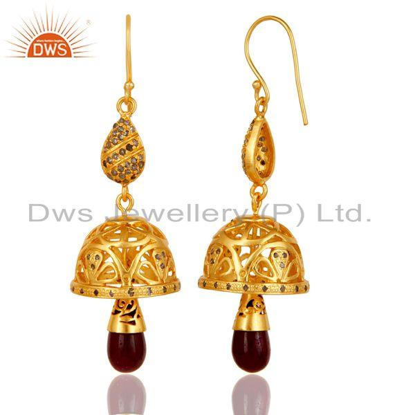 Exporter 18k Gold Plated 925 Sterling Silver Handmade Diamond Cut Ruby Jhumka Earrings