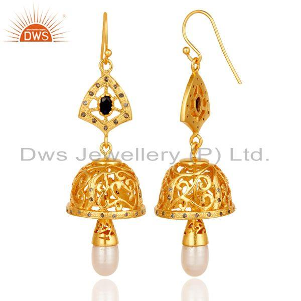 Exporter Diamond, Sapphire & Pearl Jhumka Earrings with 18k Gold Plated Sterling Silver