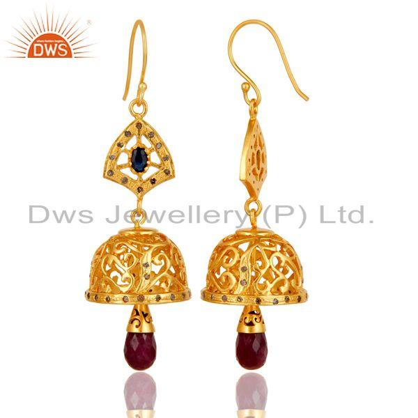 Exporter 18k Gold Plated 925 Sterling Silver Diamond Cut Ruby &  Sapphire Jhumka Earrings