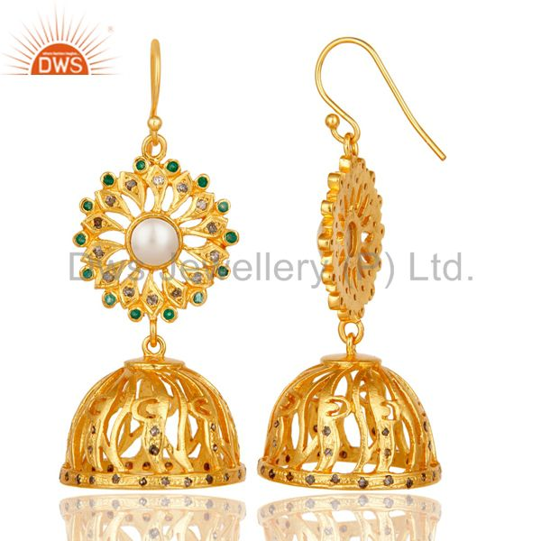 Exporter Diamond, Emerald & Pearl 18k Gold Plated Sterling Silver Jhumka Earrings