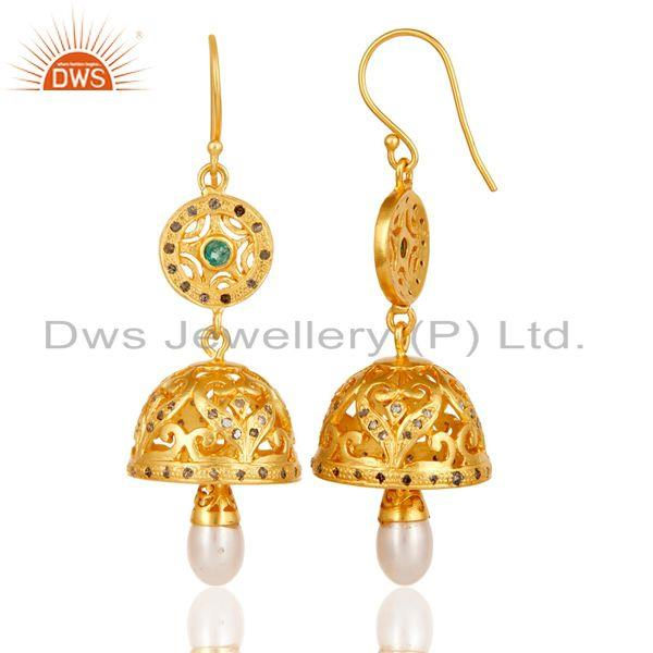 Exporter Traditional 18K Gold Plated 925 Sterling Silver Diamond & Pearl Jhumka Earrings