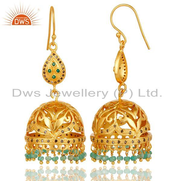 Exporter 18k Gold Plated Sterling Silver Jhumka Earrings with Diamond & Emerald