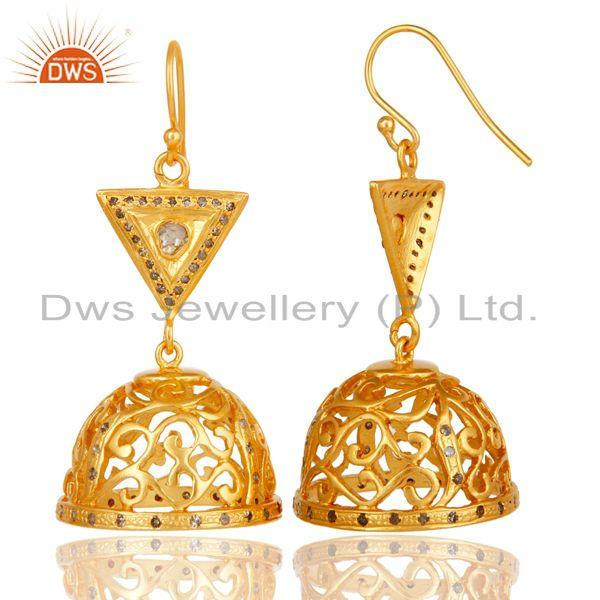 Exporter Diamond Cut Fancy Jhumka Earrings with 18k Gold Plated Sterling Silver