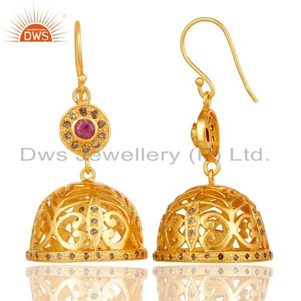 Exporter Diamond & Ruby Jhumka Earrings with 18k Yellow Gold Plated Sterling Silver