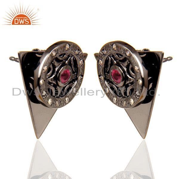 Exporter Natural Diamond Ruby Two Way Triangle Earring Black Rhodium Silver Earring