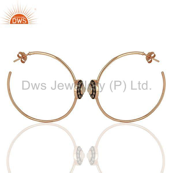 Exporter Hadnmade Pave Diamond Rose Quartz Gemstone Hoop Earrings Supplier