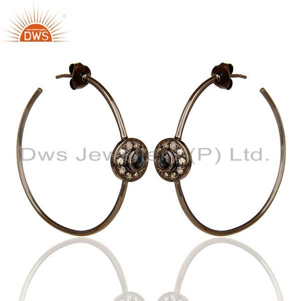 Exporter Natural Diamond Black Rhodium Plated Sapphire Hoop In 92.5 Solid Silver
