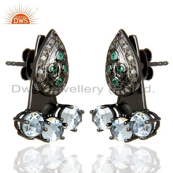 Exporter Natural Diamond And Blue Topaz Double Jacket Earring,Two Way Earring