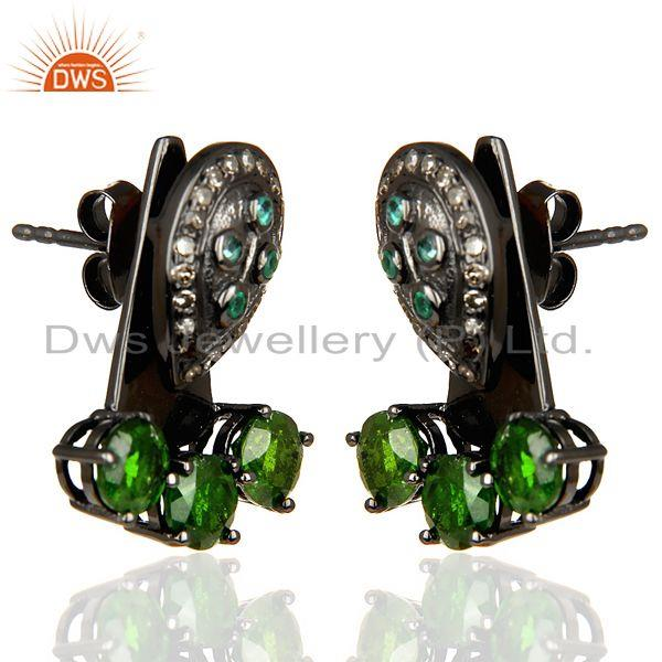 Exporter Natural Diamond And Chrome Diopside Double Jacket Earring,Two Way Earring