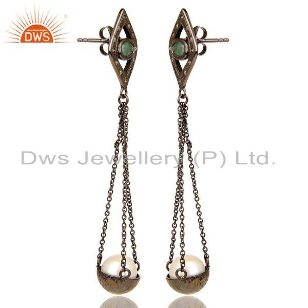 Exporter Natural diamond And Pearl Dangle Earring,Long Emerald Earring