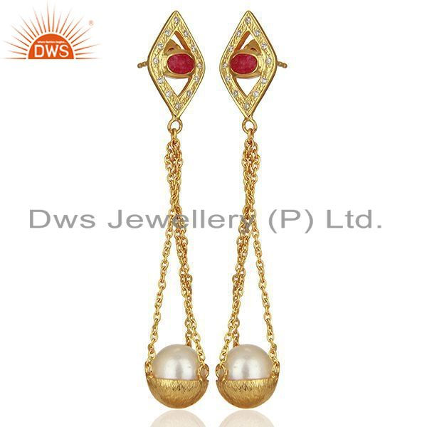 Exporter Natural Pearl Gold Plated Silver Cz Gemstone Earring Manufacturer