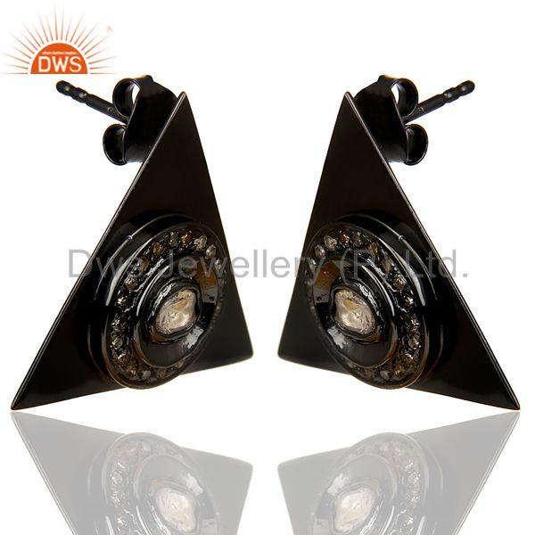 Exporter Natural Diamond 20 MM Triangle Stud Earring Black Rhodium Plated In Silver