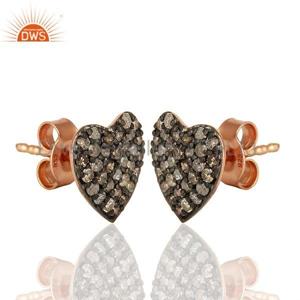Exporter Pave Set Diamond Black and Rose Gold Plated Silver Stud Earrings