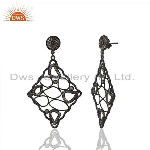 Exporter Black Rhodium Plated 925 Silver Pave Diamond Earrings Manufacturer